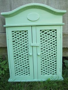 Shabby Chic Mint Green Wall Shelf / Cabinet with Doors