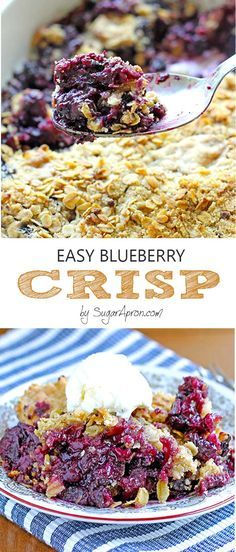 Blueberry Crisp Is there any better way to enjoy blueberries than easy blueberry crisp recipe?Is there any better way to enjoy blueberries than easy blueberry crisp recipe? Cookie Desserts, Easy Desserts, Delicious Desserts, Dessert Recipes, Yummy Food, Easy Sweets, Vegan Desserts, Fun Food, Dessert Ideas