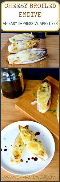 Cheesy Broiled endive Appetizer, Impressive, easy 20 minute appetizer that only takes two ingredients! Topped with your favorite cheese it's deliciously savory, filling & Low carb! Endive Appetizers, Endive Recipes, Low Carb Appetizers, Appetizer Recipes, Keto Side Dishes, Side Dish Recipes, Low Carb Recipes, Cooking Recipes, Low Carb Veggies