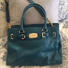 HP Office Style Party Michael Kors Hamilton Blue Michael Kors Hamilton Satchel with gold accents. Like new condition. Duster included. Michael Kors Bags Satchels