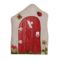 This gorgeous fairy cottage door will give a warm welcome to all the fairies, gnomes and magical creatures who live in your Fairy Garden. Measures approximately 3.5 x 4 inches tall Made of high quality composite resin material and hand painted by our artisans. Intricately sculpted with attention to detail and finished with colors of nature to complement your garden in every way