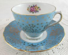 Blue Colclough Tea Cup and Saucer with Gold Decor and Flower Bouquet