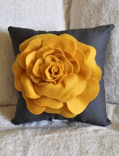 Rose Pillow Mustard Yellow on Grey 14 X 14 by bedbuggs on Etsy. $31.00, via Etsy.