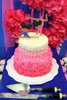 The Bajan Texan: Gymnastics Party at The Little Gym 5th Birthday Party Ideas, Valentines Day Birthday, Diy Birthday, Birthday Celebration, Cake Birthday, Gymnastics Birthday Cakes, Gymnastics Party, Two Tier Cake, Party Cakes
