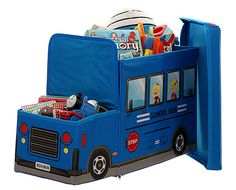 Childrenu0027s Toy Storage Ottoman   Bus At STORE. Bright Fun Fold Flat  Childrenu0027s Toy Storage Box With Padded Seat Lid.