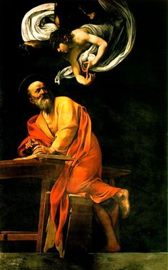 The Inspiration Of Saint Matthew, Oil by Caravaggio (Michelangelo Merisi) (1571-1610, Italy) #inspiration #StMatthew #caravaggio