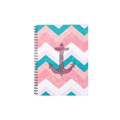 Paisley Tribal Nautical Anchor Pink Teal Chevron Notebook