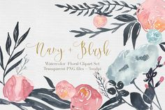 Navy + Blush Watercolor Clipart Set by The Autumn Rabbit on Creative Market