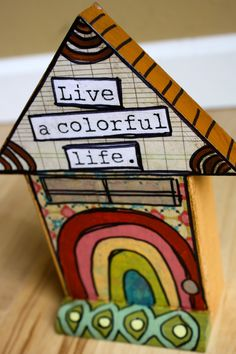Live a Colorful Life!  yellow house with rainbow. on Etsy