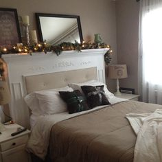 Love this mantel headboard, and am SO stealing the idea!