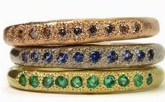 Katherine Bowman - 18ct rose, white and yellow gold Possibilities rings set with champagne diamonds, Ceylon sapphires and emeralds.