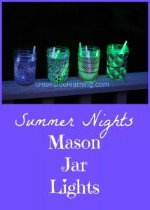 Easy DIY mason jar lights for summer nights. Great craft for kids while camping or at home on the deck or patio