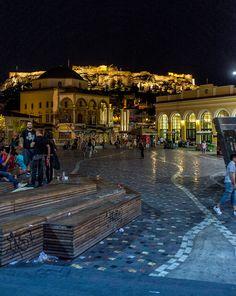 Monastiraki Square at night, Athens, Greece Attica Greece, Athens Greece, Acropolis, Greek Islands, Greece Travel, Travel Destinations, Beautiful Places, Places To Visit, Explore