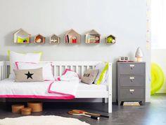 fluoro bedlinen, wall storage boxes #kidsroom #childrensroom