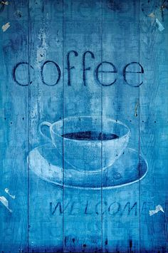 Blue coffee sign Awesome use of One way vision file on Wood