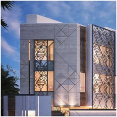 Every side has a different detail and each material is there for a reason 🇰🇼private villa Kuwait Islamic Architecture, Facade Architecture, Contemporary Architecture, Entrance Design, Facade Design, Exterior Design, House Cladding, Facade House, House Front Design