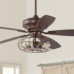 "52"" Oil Brushed Bronze Ceiling Fan W/ Cage LED Light Kit - #57T56 