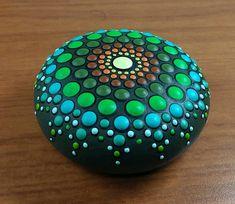 Items similar to Dot mandala hand paint stone on Etsy Dot Art Painting, Mandala Painting, Pebble Painting, Pebble Art, Mandala Art, Stone Painting, Mandala Painted Rocks, Painted Rocks Craft, Mandala Rocks