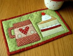 Coffee and Cake Pattern Pack Two Tasty Mug Rug by Patchsmith