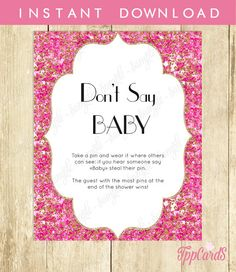 Instant Download Pink Gold Glitter Don't Say Baby Sign8x10 Pink Gold Glitter Shower Icebreaker Pin GameShower Don't Say Baby Game Hot Pink by TppCardS #tppcards