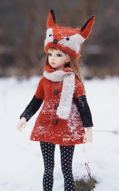 #Minifee #Clothes for #dolls #17in, #Fox #costume #Knitted for #MSD, #Dolls fox #hat, #outfit for BJD, #Coat, #cardigan, #Unoa, #iplehouse #JID, #Kaye #Wiggs