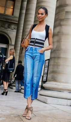 Joan Smalls in Frame jeans.