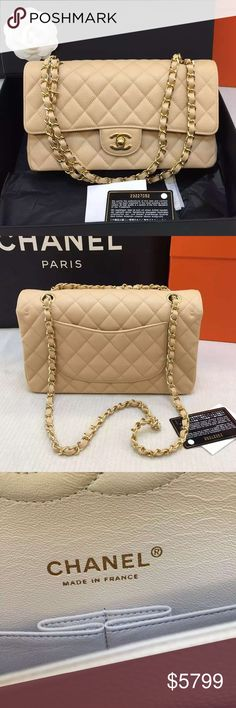 1c85a2adc099 Auth Chanel 2016 Medium Double Flap Beige Gold HW Brand new store fresh  condition!