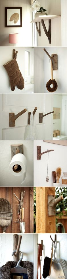 UPCYCLE cut down tree limbs to make these great- looking coat hooks, shelf supports, etc..