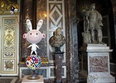 Murakami at Versailles: A sculpture by Japanese artist Takashi Murakami entitled Kaikai on display