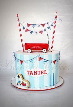 Baby Blue, Red & White Stripes and Bunting Little Red Wagon Cake (Taniel)