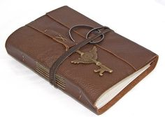 Brown Leather Journal with Winged Clock Key Charm by boundbyhand, $33.00