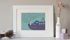 Illustration de Paris La promenade en péniche, Paris art, affiche de Paris, Paris print, impression numérique de Paris by Sandra Maestrini.  Jai
