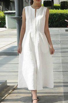 Sleeveless V Neck Solid Casual Midi Dress – Linen Dresses Business Mode, Midi Dress With Sleeves, Casual Summer Dresses, Casual Cotton Dress, Dress Summer, Dress Casual, Fall Dresses, Wedding Dresses, Linen Dresses