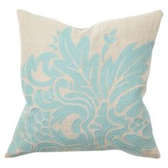 Illusion Embroidered Flora Pillow in Turquoise