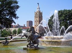 J.C. Nichols Fountain by Henri-Léon Gréber (1910), at the Country Club Plaza, Kansas City, Missouri.  Installed in Kansas City, Missouri in 1960. The allegorical statuary of the four large, cast bronze equestrian figures reportedly represent four great rivers of the world: the Rhine, the Seine, the Volga and the Mississippi.