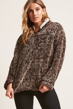 Product Name:Marled Faux Shearling Pullover Sweater, Category:sweater, Price:35
