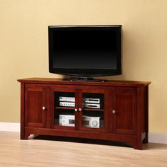 "Walker Edison W52C4DOWB 52"" Brown Wood TV Stand Console"