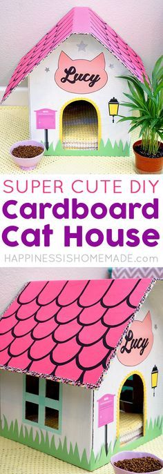 Make your own DIY Cardboard Cat House and create a cozy hangout for your favorite feline! Cats love lounging around in boxes, especially cute house-shaped ones! #ad @NutrishForPets #NutrishPets via @hiHomemadeBlog