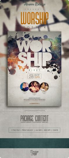 PSD Worship | Poster Template • Click here to download ! http://graphicriver.net/item/worship-poster/11770891?ref=pxcr
