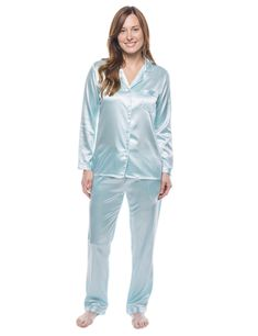 Women's Satin Pajama/Sleepwear Set - Aqua