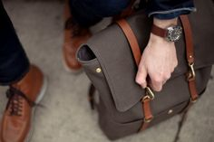 Canvas and leather. The watch, the shoes, the bag!
