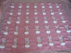 Pink Baby Blanket with Raised Rabbits free crochet graph pattern