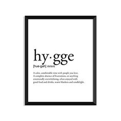 Hygge definition, college dorm room decor, dorm wall art, dictionary art print, office decor, minimalist poster, funny definition print, definition poster, inspirational quotes | Minimalist Home Decor | Olivia Decor - decor for your home and office.