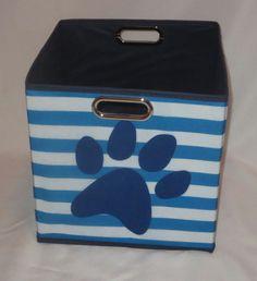 "Storage Cube Paw Print Blue 11.5"" High Square Toy Box Organizer Folds Dog Cat  #DEI"