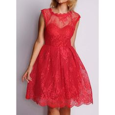Rotita Red Cap Sleeve A Line Dress ($19) ❤ liked on Polyvore featuring dresses, red, long-sleeve mini dress, lace sleeve dress, cap sleeve dress, short-sleeve lace dresses and mini dress