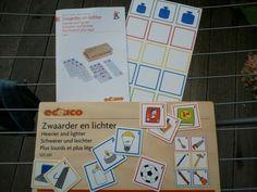 Mooi nieuw spel van Educo over gewicht. Kleuters vergelijken 2 of 3 voorwerpen, schatten in wat zwaarder is en leggen de kaartjes op de juiste volgorde. De controle aan de achterkant met een paar hele leuke tekeningen.