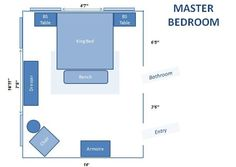 New Small Bedroom Furniture Placement Layout Chairs Ideas Bedroom Furniture Placement, Arranging Bedroom Furniture, Bedroom Furniture Makeover, Painted Bedroom Furniture, Furniture Layout, Bed Furniture, Kitchen Furniture, Furniture Ideas, Master Bedroom Layout