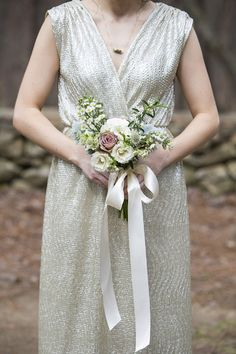 Bridesmaid bouquet idea - roses, chamomile, and scabiosa tied with a satin ribbon  {Mandy Owens Wedding Photography}