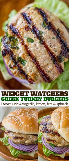 Greek Turkey Burgers with feta cheese, spinach, lemon juice and garlic are flavorful, juicy and just 1 Weight Watchers smart point per patty!
