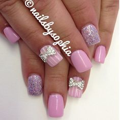 love the pink and white stripe accent nail